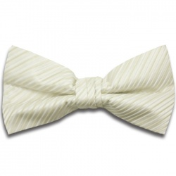 Pre-Tied Ivory White Bow Tie with Diagonal Stripe Design